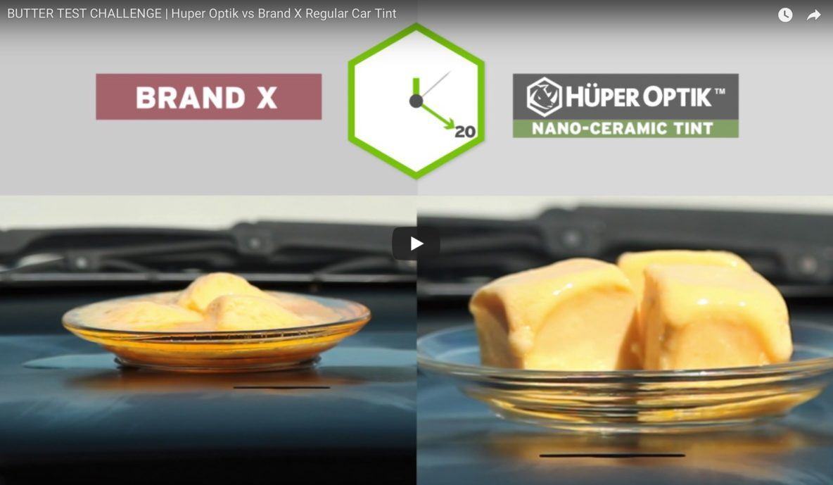Huper Optik Butter Test Challenge | Huper Optik vs Brand X Regular Car Tint